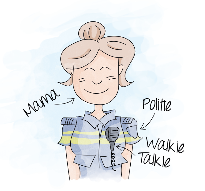 Tekening lachende politie agente